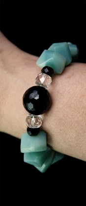 Simple Cut Amazonite and Black Onyx Bracelet