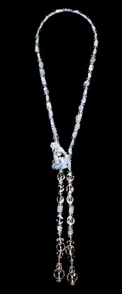 Quartz Globe and Aquamarine Nugget Lariat