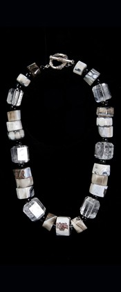 Agate and Quartz Barrel Necklace