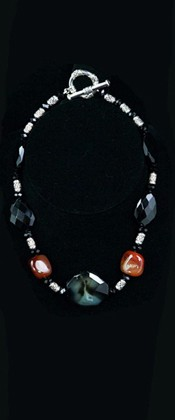 Black Onyx Geode and Carnelian Necklace