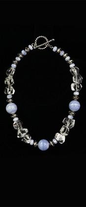 Blue Lace Agate Threesome with Quartz Necklace