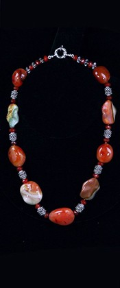Carnelian and Landscape Jasper Leaves Choker Necklace