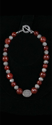 Sterling Starburst with Carnelian Choker Necklace