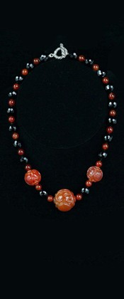 Carnelian Prosperity Threesome with Black Onyx Necklace