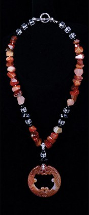 Carnelian Double Dragon Medallion with Black Onyx Necklace