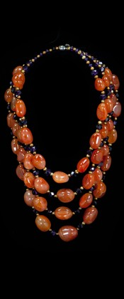 Carnelian Pebble and Amethyst Graduated Necklace