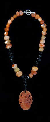 Carnelian Tranquility Medallion with Black Onyx Necklace