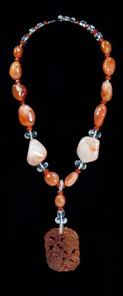 Carnelian Double Fish Medallion with Fiery Agate Necklace