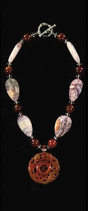 Carnelian Dragon Medallion and Fiery Agate Pebble Necklace