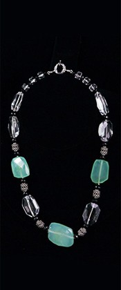 Chalcedony Threesome with Quartz and Onyx Necklace