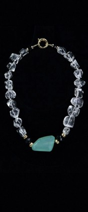 Chalcedony Centerpiece with 14K Gold and Quartz Choker Necklace