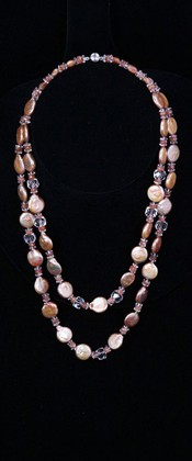 Apricot Coin Pearls with Sunstone and Quartz Graduated Necklace