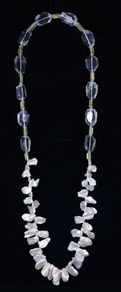 Keshi Pearls with Quartz and Citrine Opera Necklace