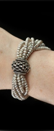 Sterling Centerpiece with Platinum Seed Pearl Bracelet
