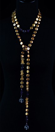 Gold Coin Pearl Choker and Lariat Necklace Set