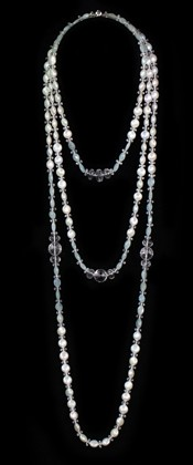 Coin Pearl and Aquamarine Graduated and Opera Necklace Set