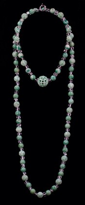 Jadeite with Tumbled Quartz Choker and Opera Necklace Set