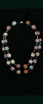 Jasper Barrels and Black Onyx Graduated Necklace