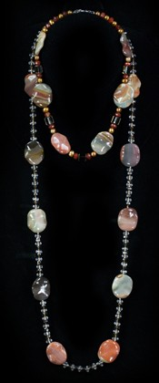Jasper Leaves with Smoky Quartz Choker and Opera Necklace Set