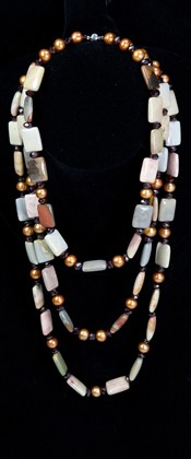 Jasper Tiles with Bronze Pearls and Amethyst Graduated Necklace