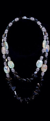 Smoky Quartz and Green Kyanite Graduated Necklace