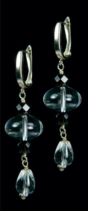 Quartz Ellipse and Black Onyx Earrings