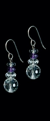 Quartz Earrings with Amethyst