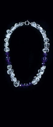 Amethyst Threesome and Quartz Choker Necklace