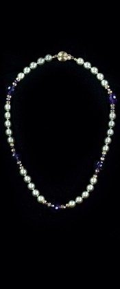 Platinum Shell Pearl with Amethyst and 14K Gold Choker Necklace