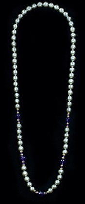 Platinum Shell Pearl with Amethyst and 14K Gold Opera Necklace
