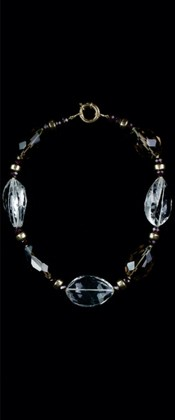 Clear and Smoky Quartz with 14K Gold Choker Necklace