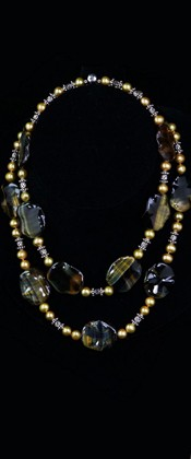 Yellow Tiger Eye Leaves with Pearls Graduated Necklace