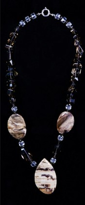 Wood Opalite with Simple Cut Smoky Quartz Necklace