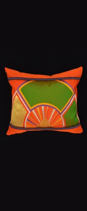 ORANGE and GREEN WHEEL PILLOW