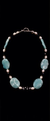 Amazonite Leaves with Pearls and Onyx Necklace