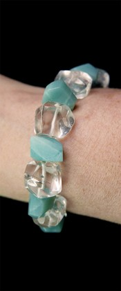 Simple Cut Amazonite and Quartz Bracelet