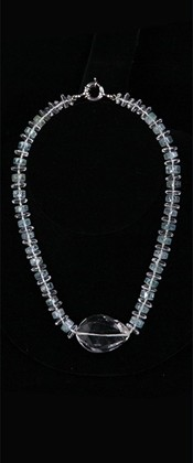 Quartz Centerpiece and Aquamarine Necklace