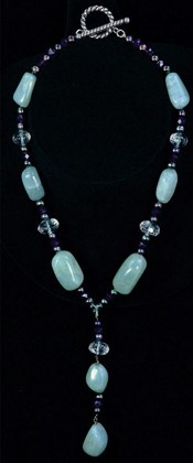 Aquamarine Nugget and Amethyst Pendant Necklace