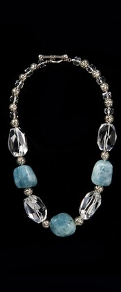 Aquamarine Nugget Threesome and Quartz Necklace