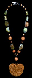 Dragon Medallion with Aventurine and Agate Nugget Necklace
