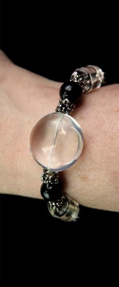 Quartz Disc and Black Onyx Bracelet