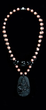 Obsidian Quan Yin Medallion with Pink Pearl Necklace