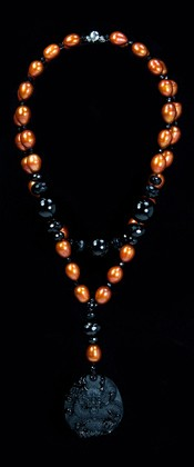 Obsidian Dragon Medallion and Rust Pearl Necklace