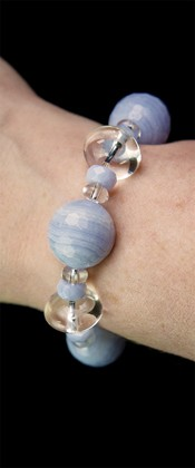 Blue Lace Agate Globe and Quartz Bracelet