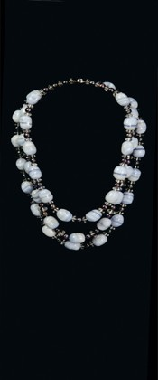 Blue Lace Agate and Pearl Graduated Necklace