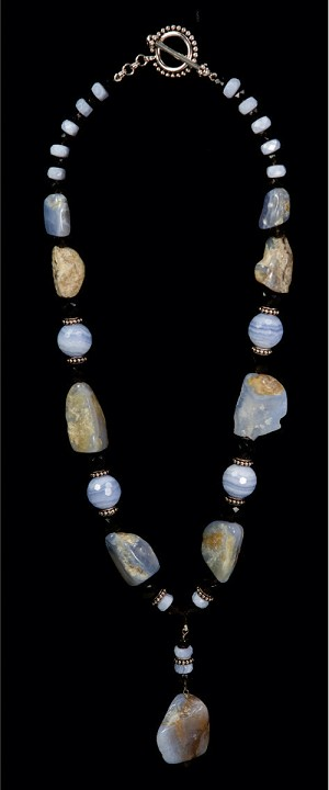 Blue Lace Agate Geode and Globe Pendant Necklace