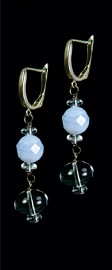 Blue Lace Agate and Quartz Drop Earrings