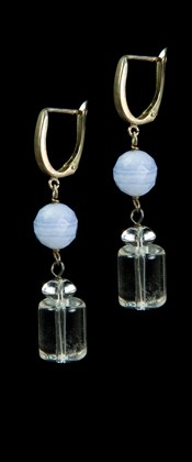 Blue Lace Agate with Quartz Cylinder Drop Earrings