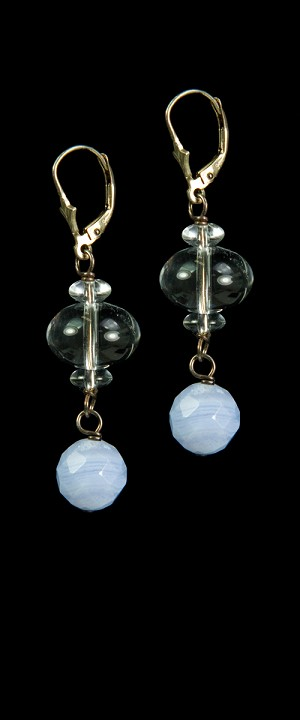 Quartz with Blue Lace Agate Drop Earrings
