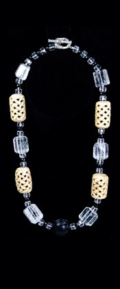 Bone Barrels and Quartz Necklace